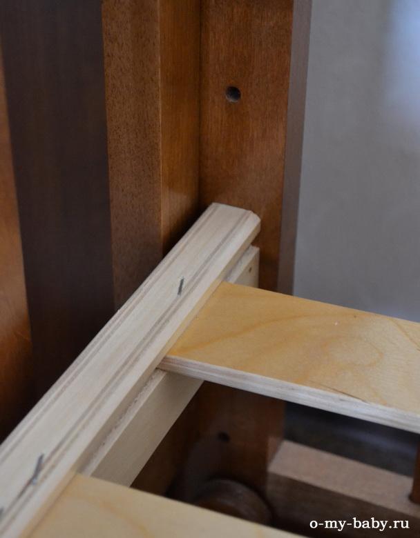 Кроватка Марина имеет три положения решётки по высоте.