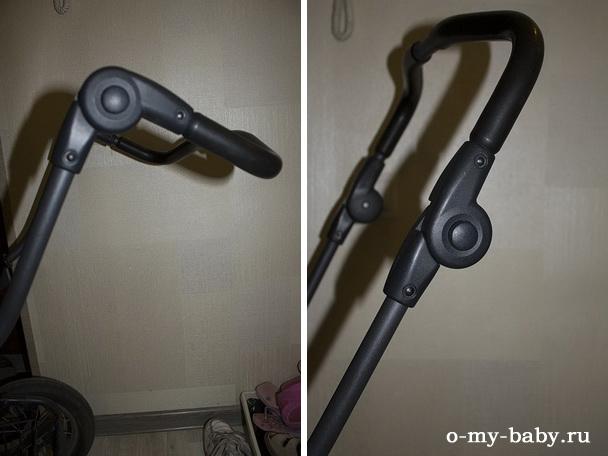 Ручка регулируется по высоте, поэтому коляску удобно катать людям разного роста.