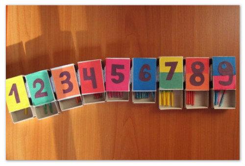 Коробки с цифрами.