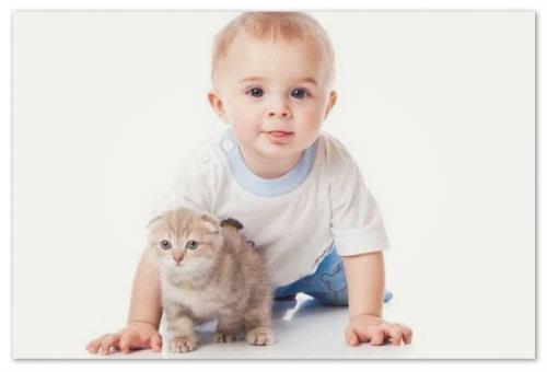 Мальчик с котенком.