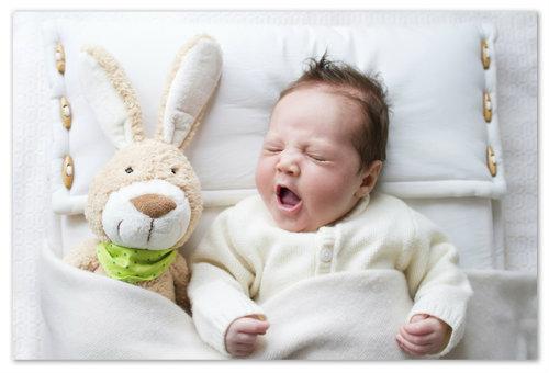 Сон младенца с игрушкой.
