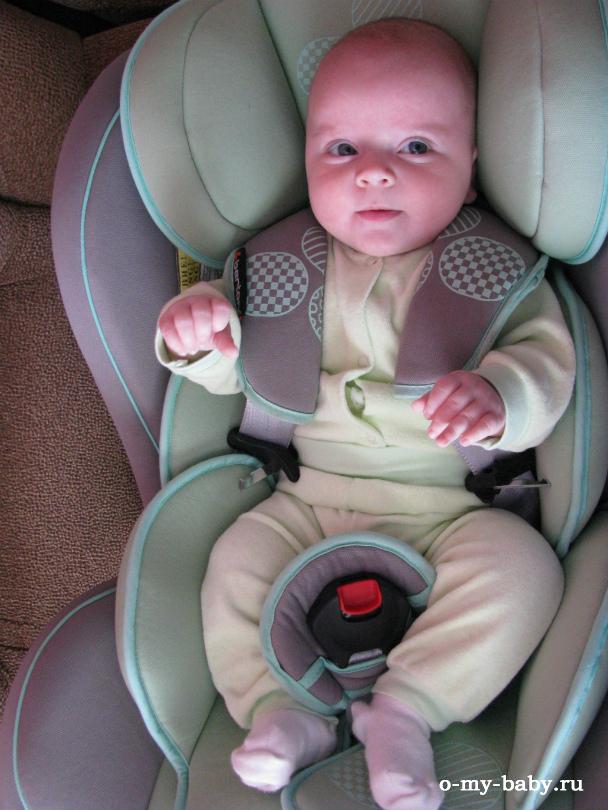 Ребёнок пристегнут ремнями безопасности.